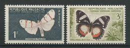 MADAGASCAR 1960 N° 344/345 ** Neufs MNH Superbes Faune Papillons Butterflies Cultures Insectes Animaux - Madagascar (1960-...)