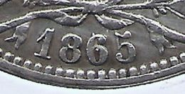 LEOPOLD I * 5 Frank 1865 Over 55 * Zonder Punt * Z.Fraai++ * Nr 9672 - 11. 5 Francs