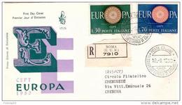 Fdc Venetia N.173 : EUROPA (1960) ; Raccomandata; AS_Roma Eur - F.D.C.