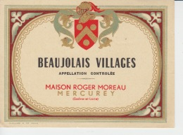 Beaujolais Villages Mercurey Wine Label/etiquette De Vin - Etiquettes