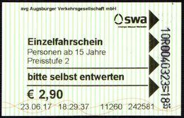 GERMANY - SINGLE TRANSFER TICKET AUGSBURG 2017 - SWA - Bus