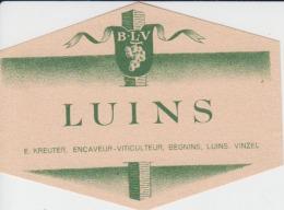 Luins E.Kreutzer Encaveur Viticulteur Begnins Luins Vinzel Wine Label/etiquette De Vin - Labels