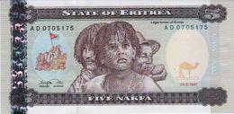 ERITREA 5 NAFKA BANKNOTE 1997 AD PICK NO.2 UNCIRCULATED UNC - Erythrée