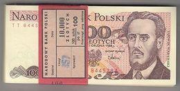 POLOGNE 100 ZL. Warynski Bundle 100pcs UNC. Billets Pick 143 Wholesale - Billetes