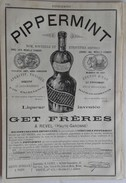 PUB 1888 - Papier Cigarette Vichy, PARQUET Sur Bitume, PIPPERMINT Par GET Frères à Revel 31 Hte Garonne - Advertising