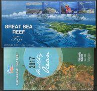 Fiji 2017 Great Sea Reef Corals Marine Life Wildlife FDC+ Brouchre # 18078 - Marine Life
