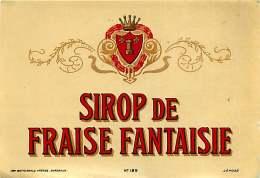 110817 - étiquette - Sirop De Fraise Fantaisie - écusson Tour Couronne - Fruits Et Légumes