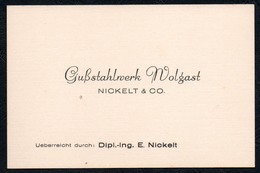A5846 - Alte Visitenkarte - Gußstahlwerk - Nickel & Co - Wolgast - Ca. 1930 TOP - Visiting Cards