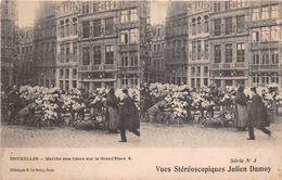 BELGIQUE -  BRUXELLES  -  Carte-Stéréo De La Ville   -  Marché Aux Fleurs Sur La Grand'Place - Markten
