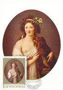 D31268 CARTE MAXIMUM CARD 1969 ROMANIA - NUDE BY VIGEE - LEBRUN CP ORIGINAL - Nudes