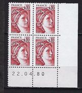 """FR Coins Datés Yt 1965 """" Sabine 10c. Rouge-brun """" Neuf**  Du 22.04.80 - Coins Datés"""