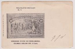 Philatelisten Briefkaart No. 8 - Vereenigde Staten Van Noord-Amerika - Columbus Jubileum 1893. 10 Cents - Postzegels (afbeeldingen)