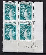 "FR Coins Datés YT 1966 "" Sabine 15c. Vert-bleu "" Neuf**  Du 14.3.78 - Coins Datés"