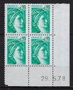 """FR Coins Datés YT 1967b """" Sabine 20c. émeraude GT """" Neuf**  Du 29.5.78 - Coins Datés"""