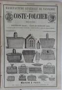 PUB 1888 - VANNERIE Maison à Montpellier 34 Origny En Thiérache 02 Paris, Exportation Velours Coton Rue Flatters Amiens - Reclame
