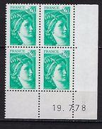 """FR Coins Datés YT 1967 """" Sabine 20c. émeraude """" Neuf**  Du 19.7.78 - Coins Datés"""