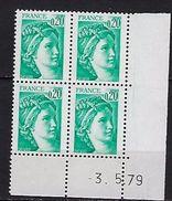 """FR Coins Datés YT 1967 """" Sabine 20c. émeraude """" Neuf**  Du 3.5.79 - Coins Datés"""