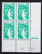 """FR Coins Datés YT 1967a """" Sabine 20c. Phosphore à Gauche """" Neuf**  Du 16.7.79 - Coins Datés"""