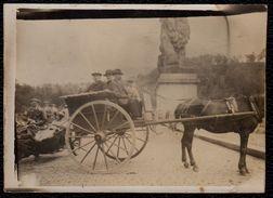 FIN 1800 - VIEILLE PHOTO D'UNE ATTELAGE ET MOTO SUR LE BARRAGE DE LA GILEPPE - RARE !! - Gileppe (Barrage)