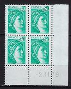 """FR Coins Datés YT 1967 """" Sabine 20c. émeraude """" Neuf**  Du 2.11.79 - Coins Datés"""