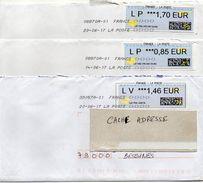 2017--Lot De 3 Lettres Affranchies Par Vignettes LSA --0.85€ --1.46€--1.70€  -- Nouvelles TOSHIBA - 2000 «Avions En Papier»