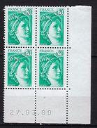 """FR Coins Datés YT 1967 """" Sabine 20c. émeraude """" Neuf**  Du 27.03.80 - Coins Datés"""