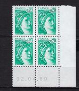 """FR Coins Datés YT 1967 """" Sabine 20c. émeraude """" Neuf**  Du 02.04.80 - Coins Datés"""
