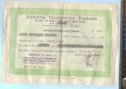 1961 - Società Telefonica Tirrena - Ricevuta Per Anticipo Su Conversazioni Interurbane - Italia