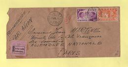 Ethiopie - Dire Dawa - Addis Abeda - 26 Avril 1951 - Recommande Pour La France - Ethiopie