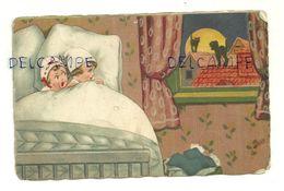 Deux Enfants Dans Un Lit Effrayés Par Les Cris Des Chats Sur Les Toits. AMAG 1927 - Illustrateurs & Photographes