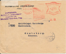 Bohemia & Moravia Nazi Censored Bank Cover With Meter Cancel Sent To Sweden Prag 21-8-1940 - Böhmen Und Mähren