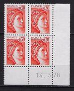 """FR Coins Datés YT 1968 """" Sabine 30c. Orange """" Neuf**  Du 14.03.78 - Coins Datés"""