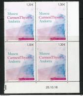 Museo Carmen Thyssen Andorra (Claude Monet, Henri Matisse, Paul Gauguin, Alfred Sisley) Bloc De 4 Neuf ** Coin Daté - Andorra Francese