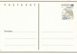 Mi. Nr. 181**  175 Öre Postkort -  Silberwurz  -Portoerhöhung  175 Auf 130 Öre - Norway