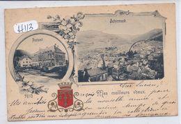 SCHIRMECK-- MES MEILLEURS VOEUX DE- RARE LITHO ECRITE EN 1898 - Schirmeck