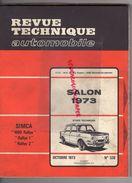 REVUE TECHNIQUE AUTOMOBILE-SIMCA  1000 RALLYE-SPECIAL SALON 1973-MARCHAL-AVEC NOMBREUX ENCARTS CARTONNES PUBLICITAIRES - Auto