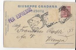 STORIA POSTALE REGNO - ANNULLO TONDO RIQ. AMB. VENEZIA-MILANO(1)(70289) P.4- 23.07.1904 SU CARTOLINA ESPRESSO - Storia Postale