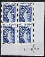 """FR Coins Datés YT 2056 """" Sabine 70c. Bleu-violet """" Neuf**  Du 18.9.79 - Coins Datés"""