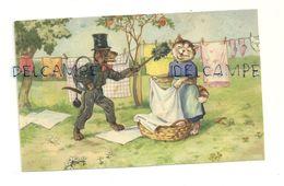 Madame Chatte Qui Pend Son Linge Et Monsieur Chien Ramoneur - Illustrateurs & Photographes