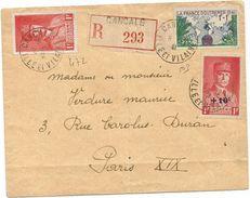 PETAIN N°472+494+ 1FR FRANCE OUTREMER LETTRE REC CANCALE 9.12.1941 AU TARIF - Poststempel (Briefe)