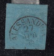 Sardegna - 1853 - 20 Cent. Azzurro - Siglato Alberto Diena - Sardegna