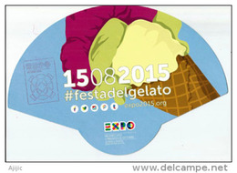 ICE CREAM FESTIVAL/FESTA DEL GELATO, éventail Distribué à L´EXPO MILANO 2015 Pendant Canicule D´Août - Italy