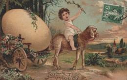 CPA Joyeuses Pâques - Belle Carte Gaufrée - Attelage Avec Mouton - Pâques