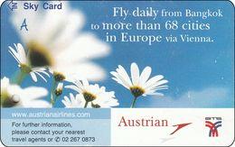 Thailand BTS Card Train Ticket Sky Card - Austrian Airline Flugzeug Flower - Eisenbahnen