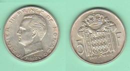 Monaco Principato  5 Francs 1966 Ranieri III Silver Coin - Monaco