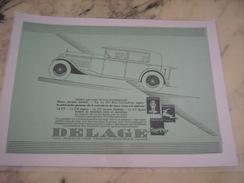 ANCIENNE PUBLICITE VOITURE DELAGE 17 CV 1929 - Cars