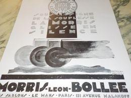 ANCIENNE PUBLICITE VOITURE MORRIS LEON BOLLEE GLISSE EN SILENCE 1929 - Cars