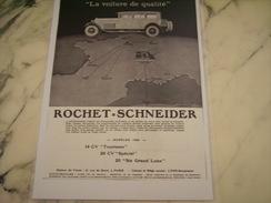 ANCIENNE PUBLICITE VOITURE ROCHET-SCHNEIDER 14 CV 1928 - Cars