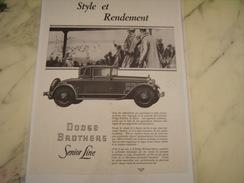ANCIENNE PUBLICITE VOITURE SENIOR LINE  DE DODGE BROTHERS 1928 - Voitures