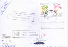 ARGENTINA 1982 COMMERCIAL COVER POSTED FOR UNKNOWN ADDRESSEE IN FALKLAND ISLAND - RETURN TO SENDER VIA LONDON - SCARCE - Argentine